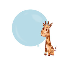 Giraffe cartoon style, raster image.