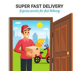 Parcel Motorcycle Courier Delivery Illustration