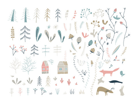 Forest doodle elements. Hand drawn cute illustrations.