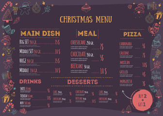 Christmas menu design with doodle design elements. Vector teplate for print. Restaurant food background with playful icons