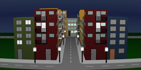 Stadtlandschaft mit bunten Häusern und Straßenlaternen. Panorama