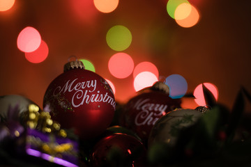 Christmas ornaments on a festive background.