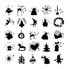 Christmas and Winter icons collection silhouette