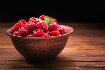 Red fresh raspberries