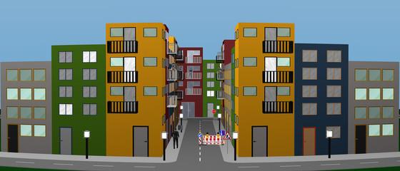 Stadtlandschaft mit bunten Häusern, Personen, Baustelle und Straßenschildern. Panorama