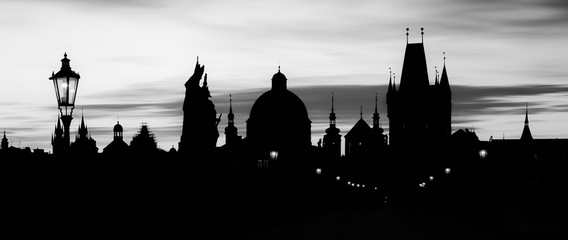 Prague,silhouette of skyline with space for text , Czech Repudlic
