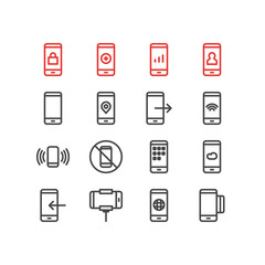 Vector Illustration Of 16 Smartphone Outline Icons. Editable Set Of Phone, Plus, Meteorology And Other Elements.