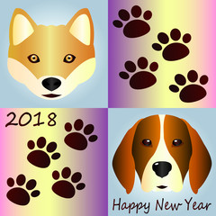 A beautiful poster with cute dogs - a red-haired hussy with amber eyes and a hunting dog beagle. Lovely marks from the legs of dogs. The dogs are the symbol of 2018. Happy New Year