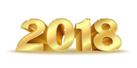 Happy New Year 2018 golden numbers