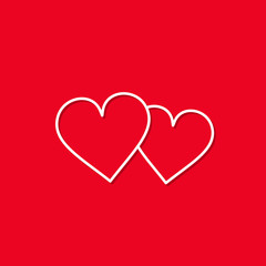 Two Love Hearts line icon isolated on red bakground. Vector