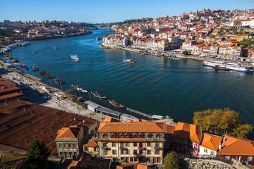 View of Douro river and Ribeira from Vila Nova de Gaia, Porto, Portugal..