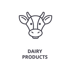 dairy products, cow head line icon, outline sign, linear symbol, flat vector illustration