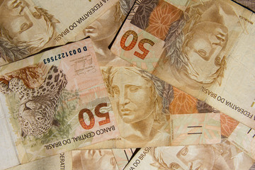 Notes of Real, Brazilian currency. Money from Brazil.