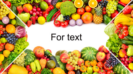 Printed roller blinds Fruits Frame of vegetables and fruits on white background. Copy space.