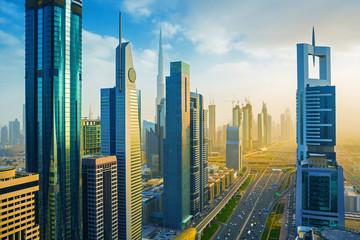 Dubai downtown skyscrapers and Sheikh Zayed road,Dubai,United Arab Emirates