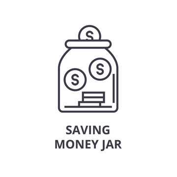 saving money jar line icon, outline sign, linear symbol, flat vector illustration