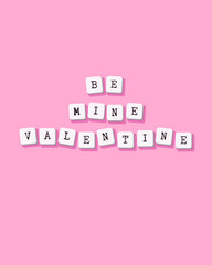 Be mine Valentine - vector Valentines Day greeting card, poster, flyer, brochure. Template for cover with key typed text. Computer keyboard buttons