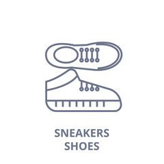 sneakers shoes line icon, outline sign, linear symbol, flat vector illustration