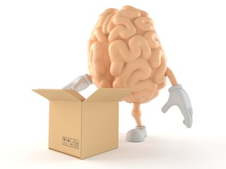 Brain character with open cardboard box