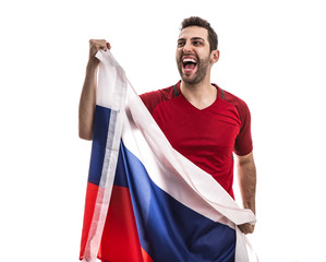Russian fan celebrating on white background