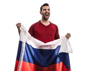 Russian fan celebrating on white background