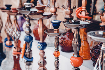 Hookah. Close-up of the counter market of the bazaar in Turkey and Egypt