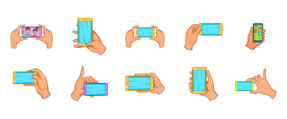 Hand smartphone icon set, cartoon style