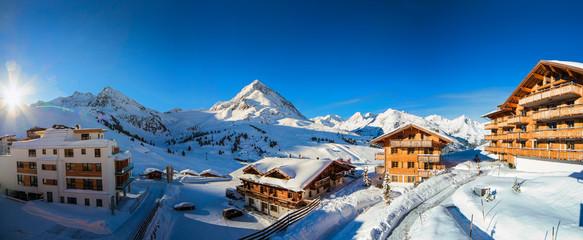 winter ski resort panorama with tyrolean village, Kuhtai, Austria