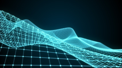 Virtual wireframe landscape flight simulation 3d illustration