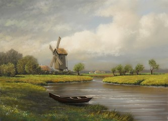 Oil paintings rural landscape, village, river, fine art