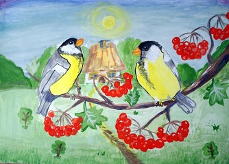 Birds, watercolor paintings  rural landscape