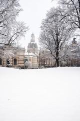 Frauenkirche im Winter in Dresden