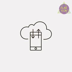 mobile cloud line icon