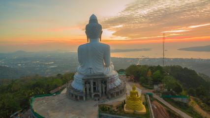 Stunning panoramic view of Phuket big Buddha in the morning.Phuket Big Buddha is one of the island most important and revered landmarks on the island.