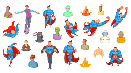 Super heroes icon set, cartoon style