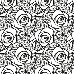 Seamless pattern with black and white rose silhouette. Floral wallpaper