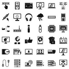 Web icons set, simple style