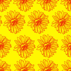 Bright sunny floral seamless pattern with sunflowers