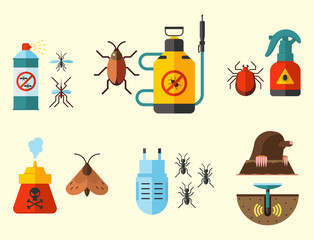 Home pest control expert vermin exterminator service insect thrips equipment flat icons vector illustration.