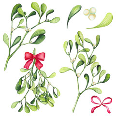 Set of Watercolor Christmas Mistletoe and Bows