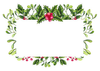 Frame with Watercolor Holly, Berries and Mistletoe