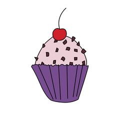 Cupcake icon in cartoon style