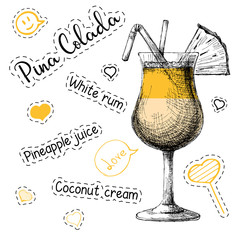 Simple recipe for an alcoholic cocktail Pina Colada. Vector illustration of a sketch style
