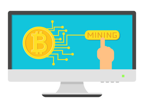 Mining bitcoin gold coin with microcirculation on screen computer