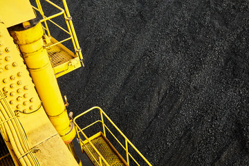 View from excavator on heap of coal