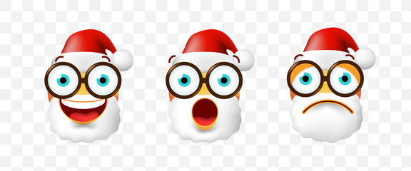 Christmas Time ! Set of Santa Claus Emoticons on Transparent Background . Isolated Vector Illustration
