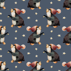 Cute Penguin in a hat and stars. Seamless, pattern.