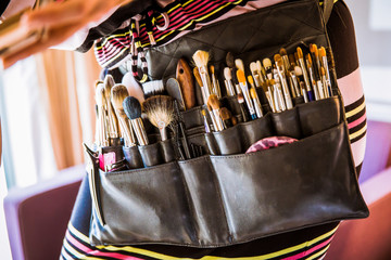 Photography of the makeup brushes in case