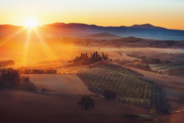 Printed roller blinds Deep brown Tuscany, panoramic landscape with famous farmhouse rolling hills and valleys in beautiful golden morning light at sunrise in summer, Val d'Orcia, Italy