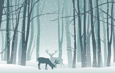 Aluminium Prints Dark grey Vector winter landscape with blue silhouettes of trees in the forest and deer with falling snow